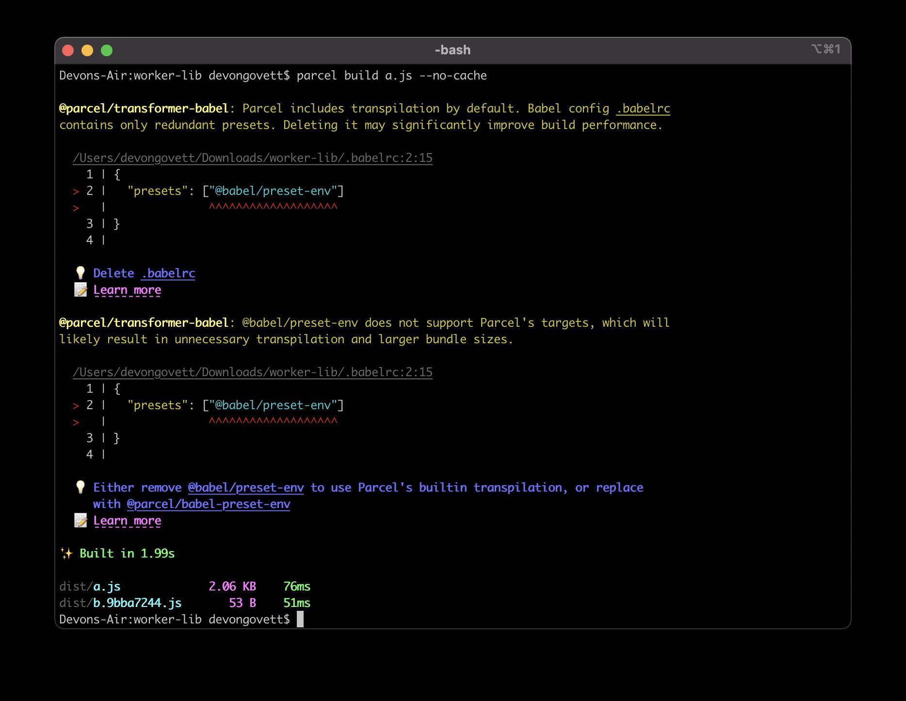 a screenshot of babel preset diagnostics