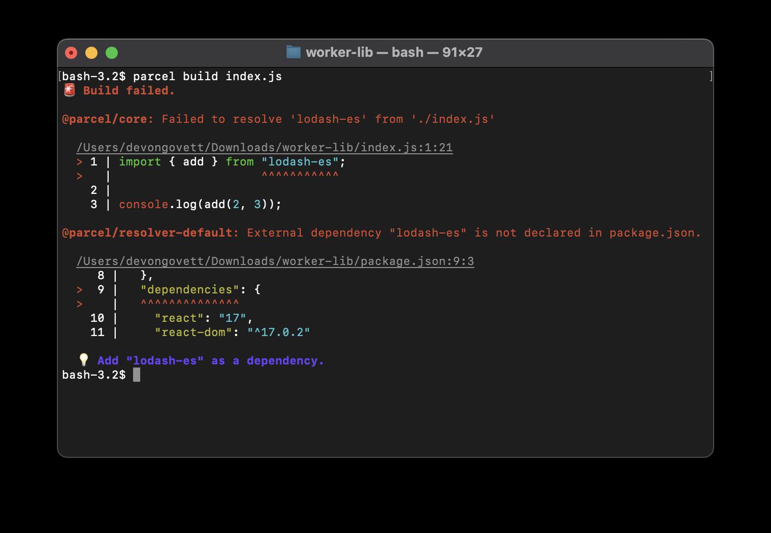 "Screenshot of an error message showing ""External dependency 'lodash-es' is not declared in package.json."""